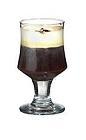 The American Coffee drink is made from bourbon, brown sugar, hot coffee and whipped cream, and served in a white wine or irish coffee glass.