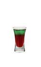 The Back on Track shot is made from vodka, blueberry juice and Pisang Ambon, and served in a shot glass.