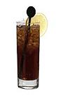 The Billy The Kid drink is made from bourbon (Jim Beam), Tia Maria, Licor 43 and cola, and served in a highball glass.