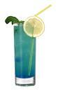 The Blue Job drink is made from gin, blue curacao and grapefruit juice, and served in a highball glass.