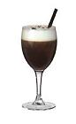 The Cafe Parisienne drink is made from Grand Marnier Rouge, hot coffee and whipped cream, and served in a wine glass, or an Irish coffee glass.