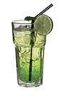 The DJ Drink is made from Bacardi Limon, Midori Melon Liqueur and lemon-lime soda, and served in a highball glass.