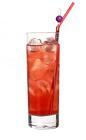The Emma drink is made from vodka, Passoa, Red Bull and cranberry juice, and served in a highball glass.
