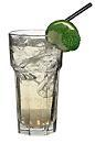 The Green Apple drink is made from lime vodka, Sourz Apple and lemon-lime soda, and served in a highball glass.