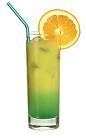 The Green Orange drink is made from citrus vodka (aka Absolut Citron), Pisang Ambon and orange juice, and served in a highball glass.