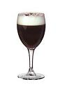 The Irish Coffee drink is made from Irish whiskey, brown sugar, hot coffee and whipped cream, and served in a white wine or Irish coffee glass.