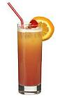 The Kalis Little Pinky is a non-alcoholic drink made from orange juice, sour mix, peach syrup and grenadine, and served in a highball glass.