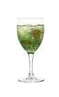 The Kiwi Crush drink is made from gin, Sourz Apple, kiwi and apple syrup, and served in a wine glass.