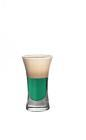 The Lilly Whites shot is made from Dooleys toffee liqueur, creme de menthe, vanilla vodka and milk, and served in a shot glass.