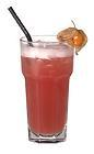 The Madras drink is made from vodka, cranberry juice and orange juice, and served in a highball glass.