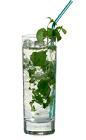 The Mojito drink is made from white rum, club soda, mint, lime and sugar syrup, and served in a highball glass.