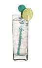 The Oasis drink is made from Bacardi Limon, pepino cactus and Schweppes Russchian, and served in a highball glass.