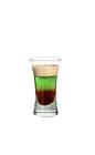The Quick F-u-c-k shot is made by layering Baileys Irish Cream, Midori Melon Liqueur and Dooleys Toffee Liqueur in a shot glass.