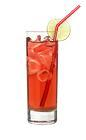 The Red Cosmo drink is made from citrus vodka (aka Absolut Citron), Cointreau, Red Bull, lime juice and cranberry juice, and served in a highball glass.