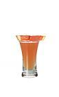 The Passion Shooter is made from gin, strawberry vodka and passionfruit juice, and served in a shot glass.