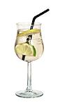 The Spritzer drink is made from white wine and club soda, and served in a white wine glass.