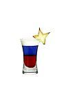 The Stars and Stripes shot is made from grenadine, blue curacao and light cream, and served in a shot glass.