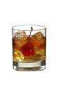 The Supreme drink is made from vodka, sweet vermouth and peach liqueur, and served in an old-fashioned glass.