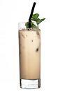 The Tarzan drink is made from Sayang Liqueur, dark rum, creme de bananes and milk, and served in a highball glass.