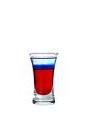 The Bastille Bomb shot is made from grenadine, blue curacao and Cointreau, and served in a shot glass.