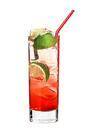 The Vanilla Lime drink is made from vanilla vodka, grenadine, cider and lime, and served in a highball glass.