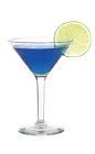 The Woman Warrior cocktail is made from vodka, blue curacao and fresh lime juice, and served in a cocktail glass.